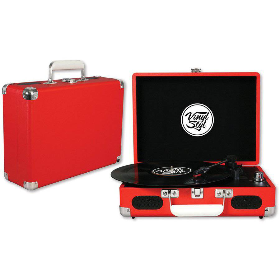Vinyl Styl Groove Portable Turntable, Red