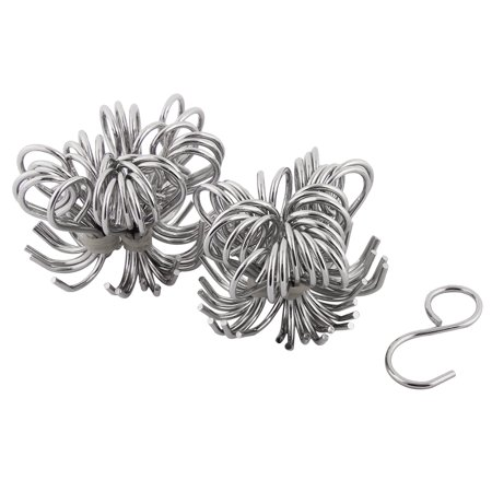60 Degree Hook - Household Kitchen Metal S Shape Hanger Hook Silver Tone 60 Pcs