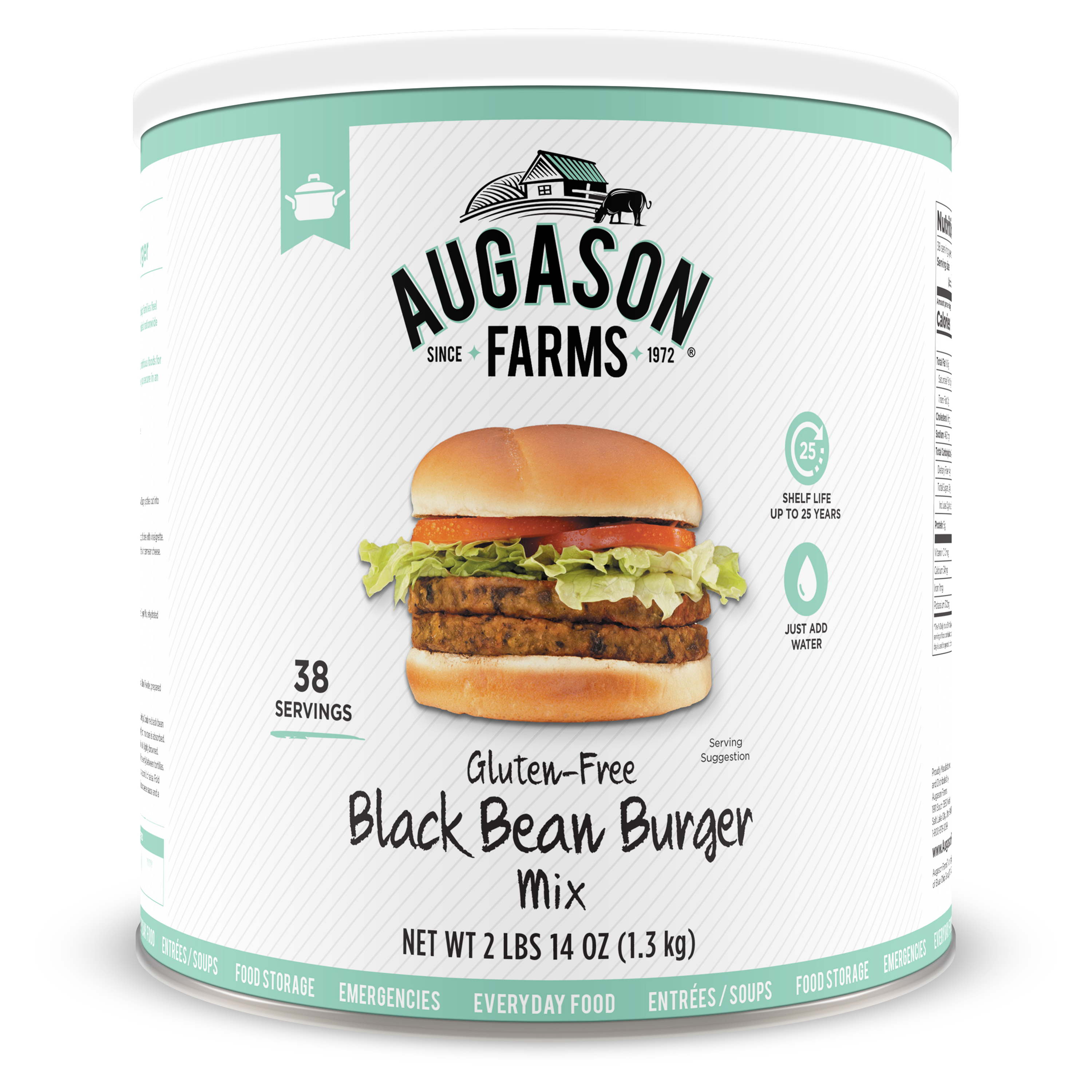 Augason Farms Gluten Free Black Bean Burger 2 lbs 14 oz No. 10 Can