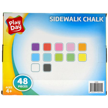 Play Day Sidewalk Chalk, Multi-Colored, 48 Pieces