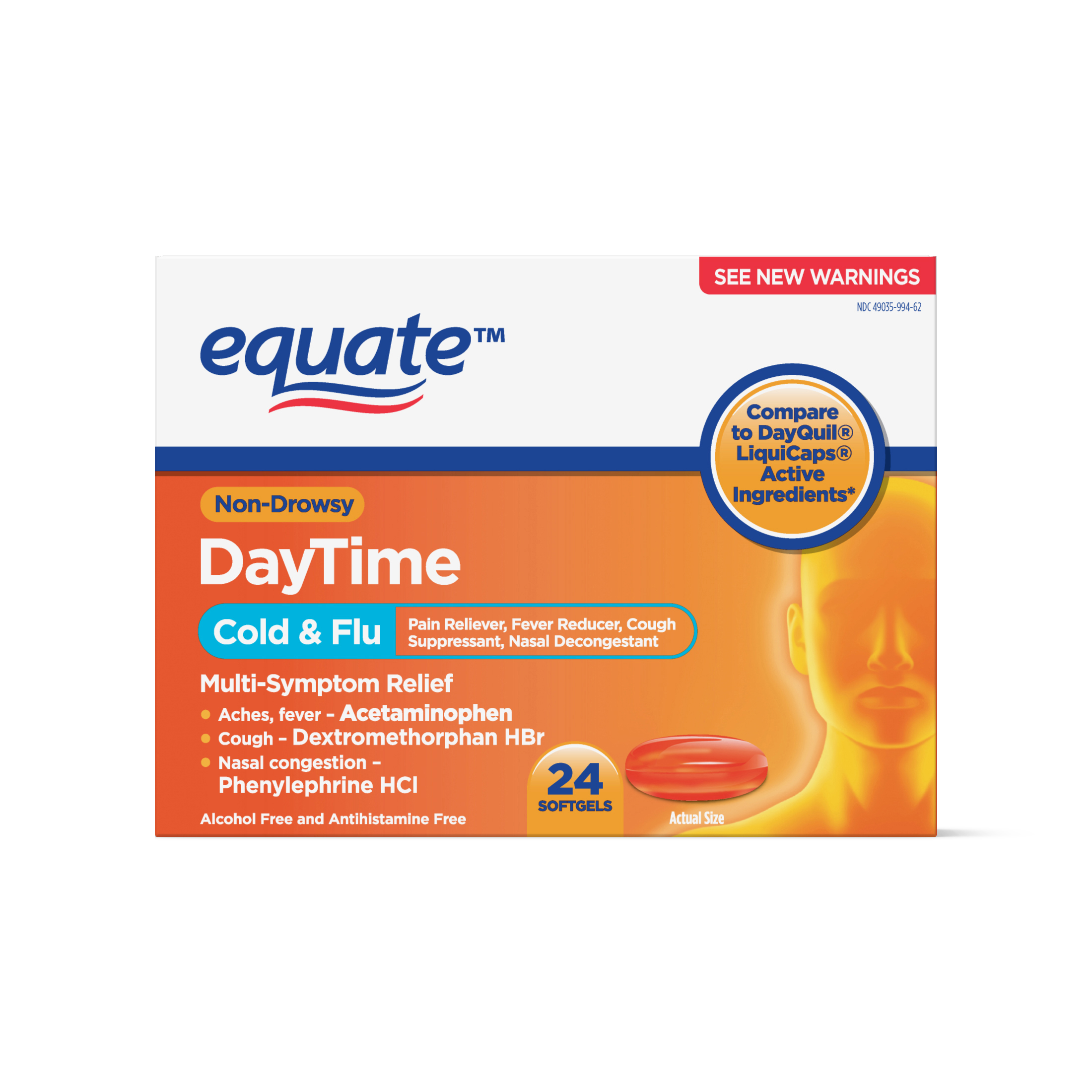 Equate Daytime Non-Drowsy Cold and Flu Softgels, 24 ct