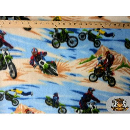 Fleece Printed Fabric ^ MOTOCROSS BLUE BROWN ^ / 58
