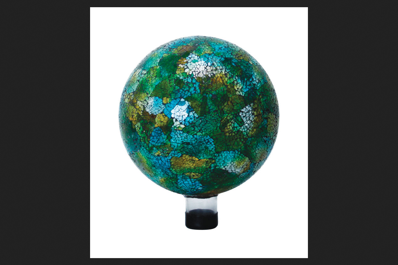 Alpine Glass Multicolored 11 in. H Crackled Mosaic Gazing Ball by Alpine