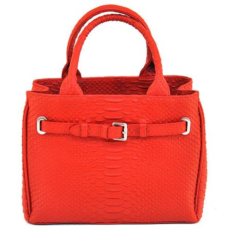 Isabella Adams Embossed Leather Python Tote - Red python print