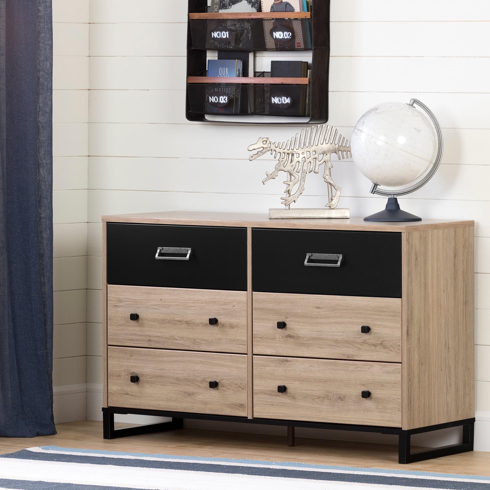 South Shore Induzy 6-Drawer Double Dresser, Rustic Oak and Matte Black