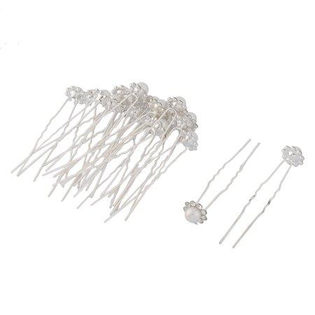 Faux Pearl Stick (Women Metal U Shaped Faux Pearl Inlaid Decor Hairstyle Hair Stick Hairpin 20 Pcs)