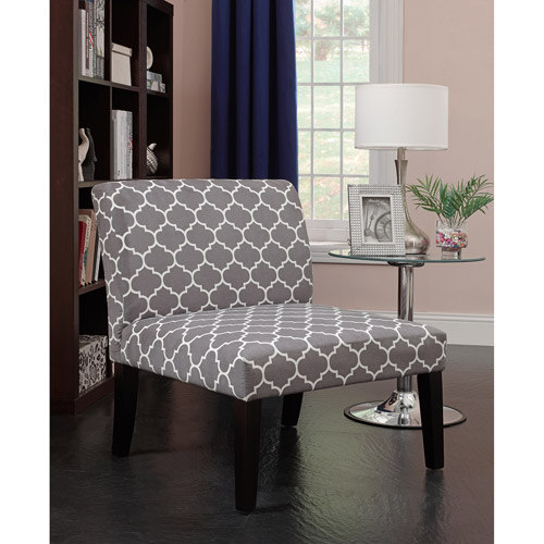 Emily Accent Chair, Gray Trellis