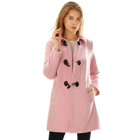 - Women's Turn Down Collar A-line Toggle Worsted Duffle Coat Pink (Size M / 10) Pink M (US 10)