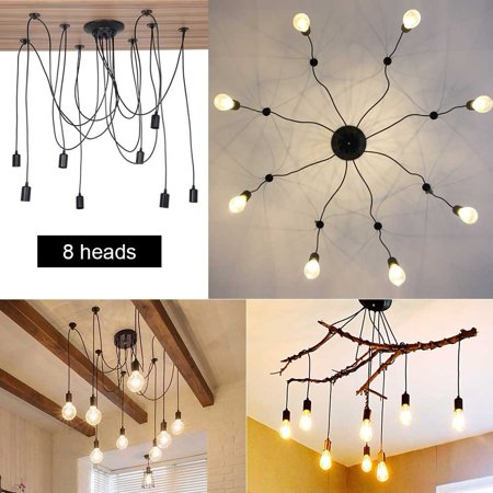 - 8 Head Industrial Vintage Style Pendant Light Holder Ceiling Lamp Hanger Fixtures