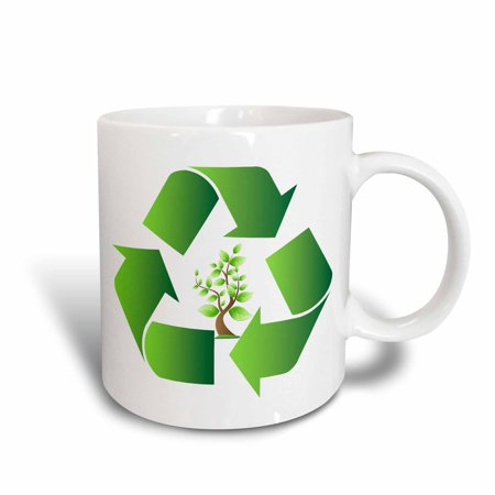 Recycle Center - 3dRose Green Recycle Symbol With A Tree In The Center, Ceramic Mug, 11-ounce