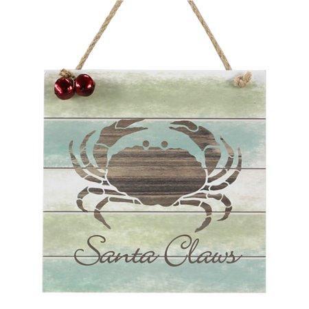 Santa Claws Crab Beachy Christmas Holiday Slatted Wood Wall Plaque