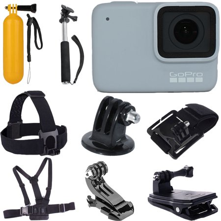 GoPro HERO7 White Waterproof Digital Action Camera (Touch Screen) + Head Strap + Chest Strap + 43'' Monopod + Wrist Strap + Floating Handle + Clip Jaw Clamp Mount + J-Hook + Tripod Mount ()