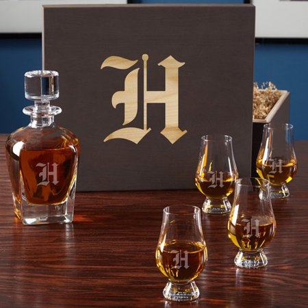 Home Wet Bar 6 Piece Personalized Whiskey Decanter Set