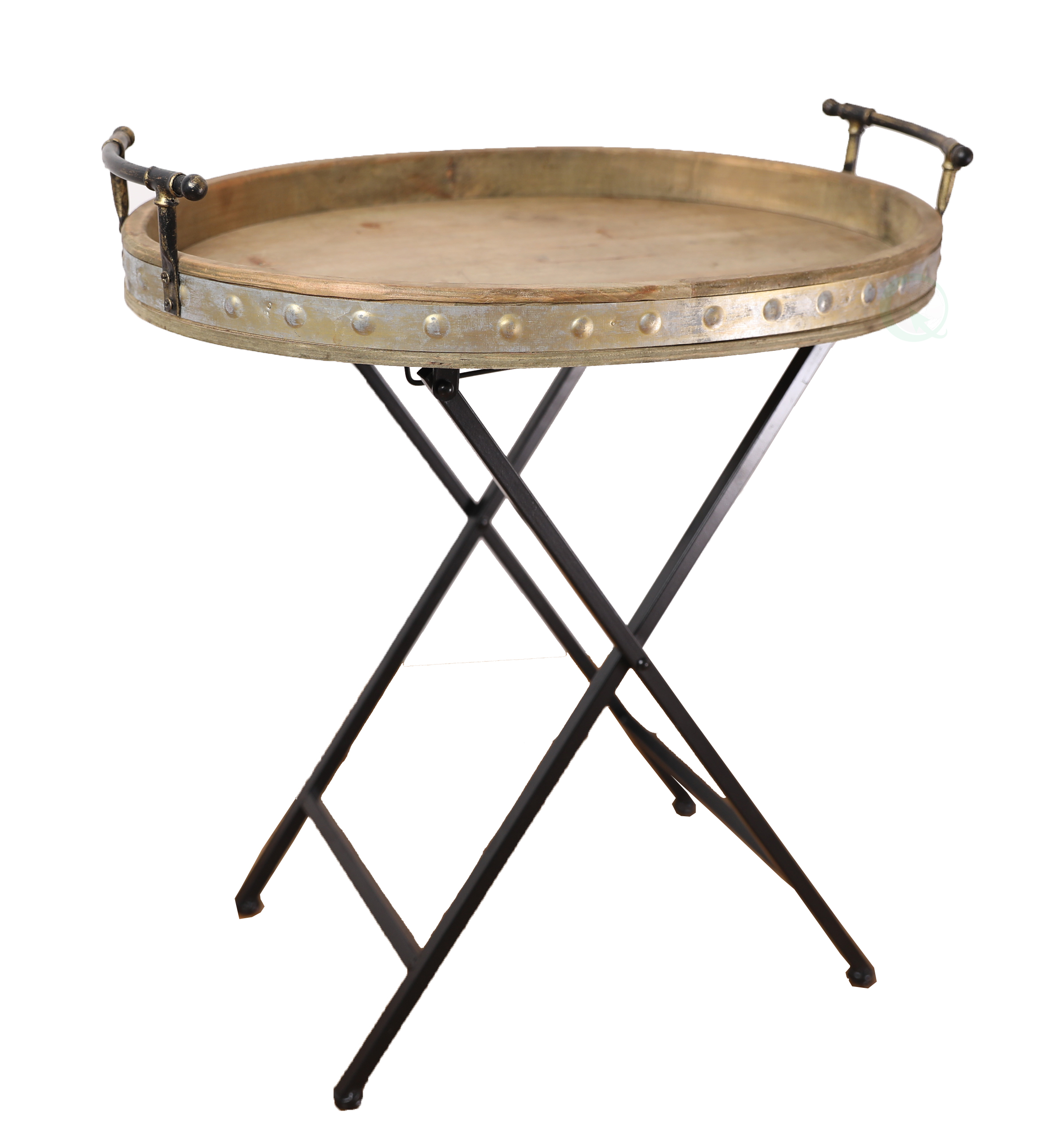 Details about Wood Metal Serving Tray w/ Stand Folding Snack Table Round  Rustic Outdoor Brown