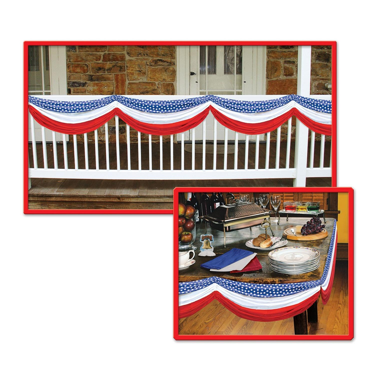 """Pack of 6 Red, White and Blue Stars and Stripes Fabric Bunting Hanging Decorations 70"""""""
