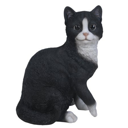 Animal Collection Life Size Black and White Cat Figurine Statue 10