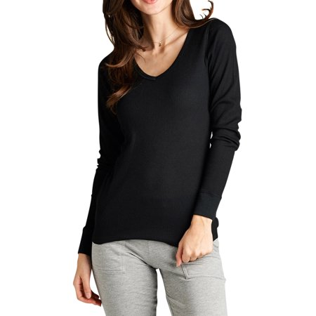 - Women Long Sleeve V-Neck Thermal Tee Shirt Top