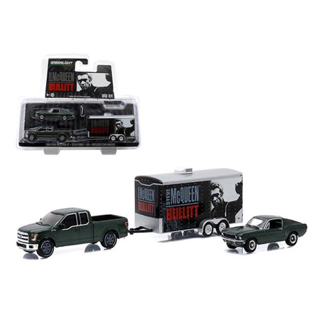 """2015 Ford F-150 and 1968 Ford Mustang GT with Enclosed Car Hauler Set """"Bullitt"""" Movie 1/64 Diecast Model by Greenlight"""