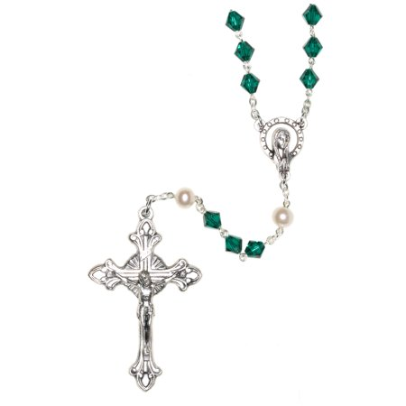Emerald Green Catholic Rosary made w/Swarovski Crystals (May) - Communion, Reconciliation, Christmas, Easter, Birthday & more