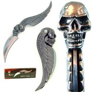 "Whetstone 7"" Skull Wing Design Folder Pocket Knife, Silver"