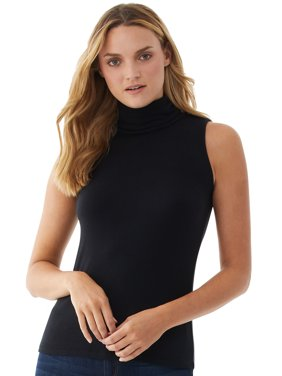 Scoop Womens Sleeveless Turtleneck Top