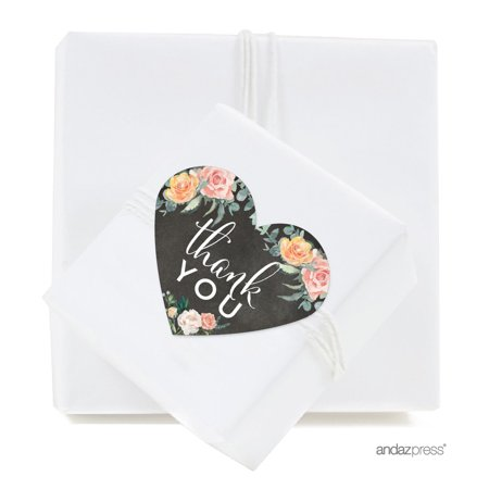 - Peach Chalkboard Floral Garden Party Wedding Collection, Heart Label Stickers, Thank You, 75-Pack