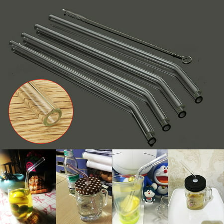 4Pcs Healthy Reusable Bent Glass Tube Drinking Straw with Cleaning Brush For Coffee Cold Beverage