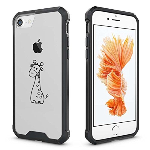 Apple iPhone Clear Shockproof Bumper Case Hard Cover Cute Giraffe (Black For iPhone 6 Plus / 6s Plus)