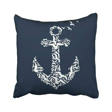 Sea Gull Pillow Lens (BPBOP White Bird Anchor On Black Sea Silhouette Boat Detail Wild Gull Animal Pillowcase Throw Pillow Cover 16x16)