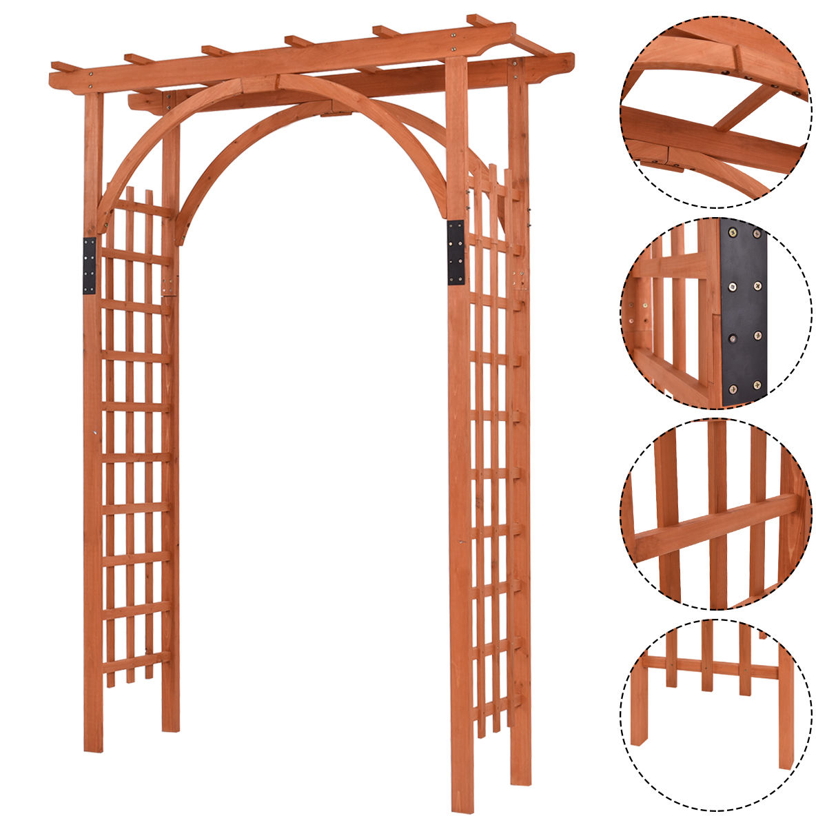 Costway Premium Outdoor Wooden Cedar Arbor Arch Pergola Trellis Wood Garden Yard Lattice by Costway