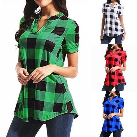 Women Fashion Sexy V-neck Short Sleeve Lattice Print Plus Size Casual Shirt Loose Blouses