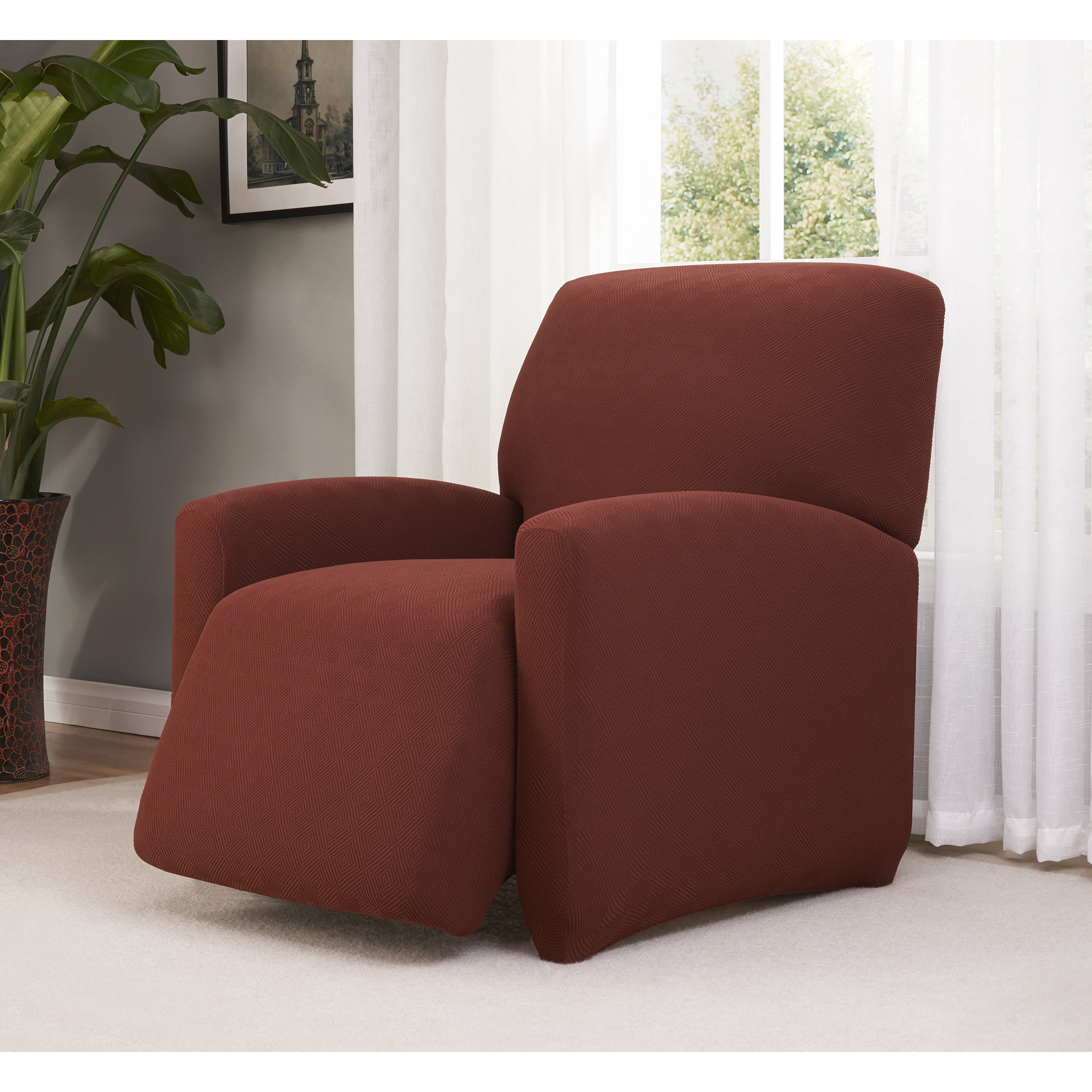 Madison Industries Checkerboard Recliner Stretch Slipcover