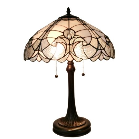Amora Lighting AM204TL16 Tiffany Style White Table Lamp 23 In High