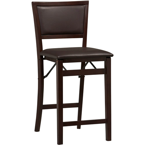 Linon Keira Folding Counter Stool, Espresso, 24 inch Seat Height, Assembled