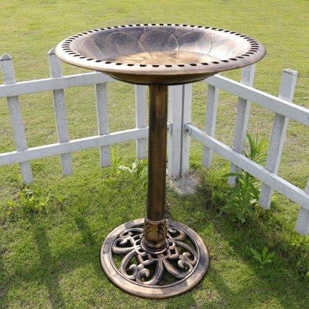 - VIVOHOME Polyresin Pedestal Bird Bath Antique Outdoor Garden Copper