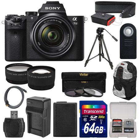 Sony Alpha A7 II Digital Camera & 28-70mm FE OSS Lens with 64GB Card + Battery & Charger + Backpack + Tripod + Tele/Wide Lens Kit