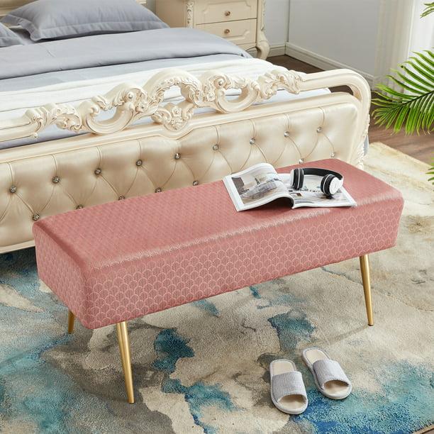 Pcmos 4 Ft Bed Foot Bench, Velvet Ottoman Rectangular Bench
