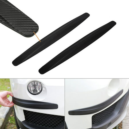 Xotic Tech 2 pieces Universal Carbon Fiber Pattern Front Rear Bumper Corner Extended Protector Lip Guards ()