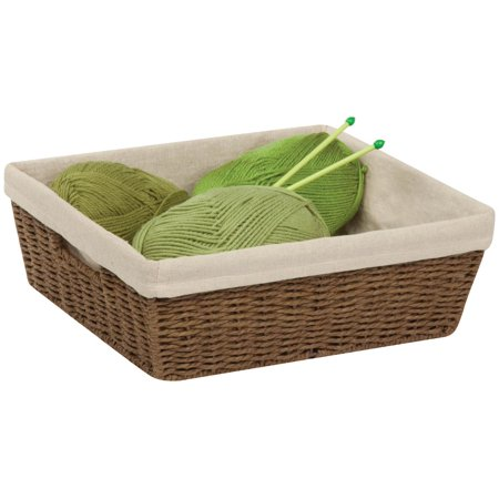 Brown Oval Basket - Honey Can Do Short Parchment Cord Basket with Liner, Brown/Beige