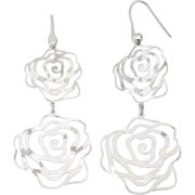 Rhodium-Plated Sterling Silver Rose Shape Cut-Out Dangle Earrings