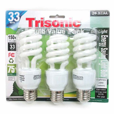 3 Pack Daylight Bulb Light 33 W Energy 150 Watt Output White Compact
