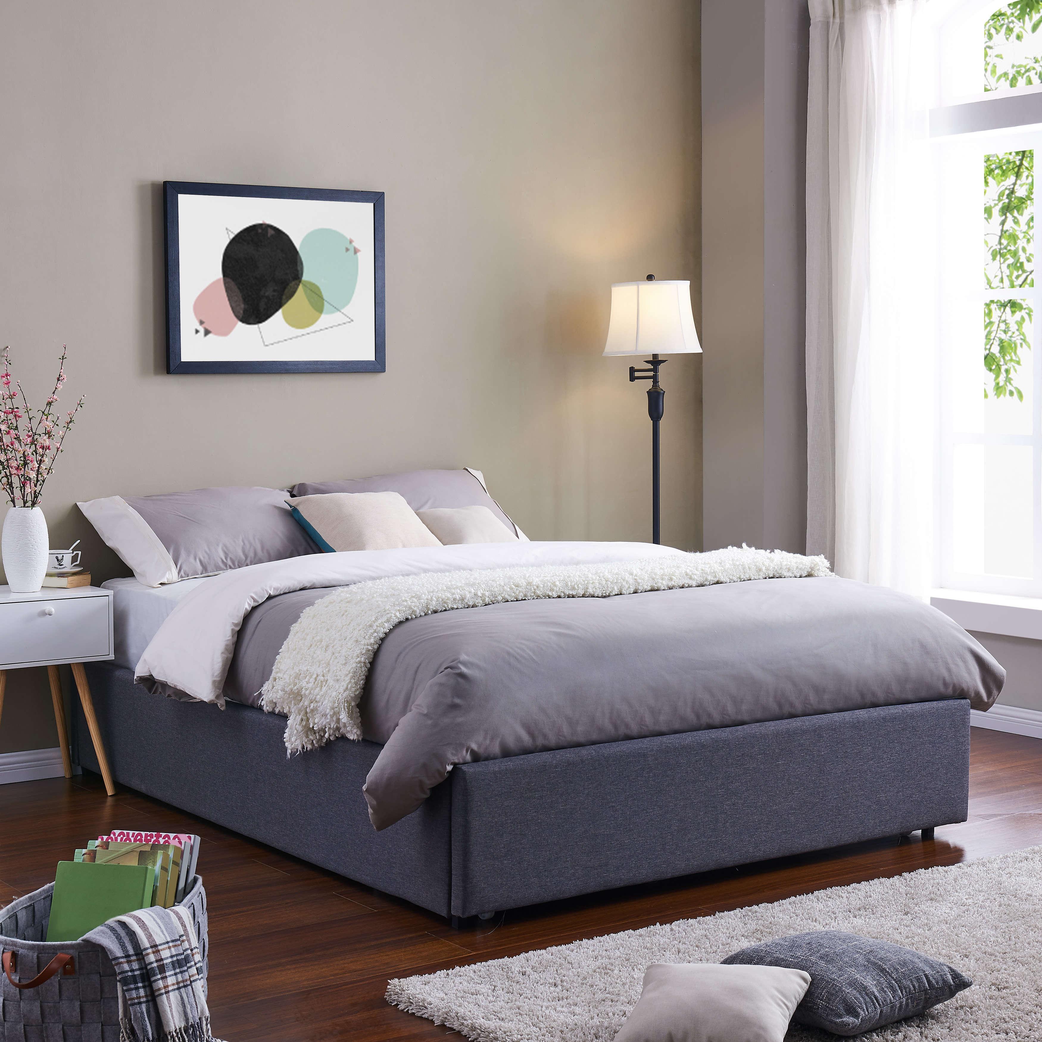 Mainstays Upholstered Storage Platform Bed, Eastern King, Grey