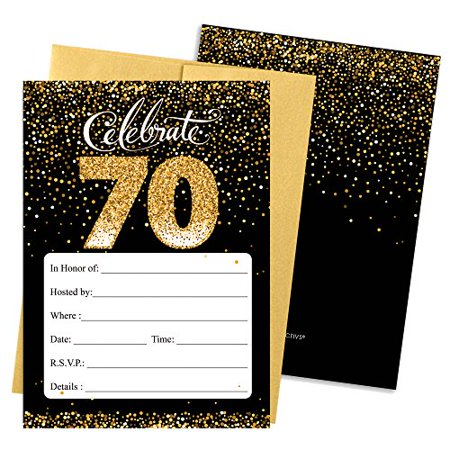 Black And Gold 70th Birthday Party Invitations With Envelopes 25 Count