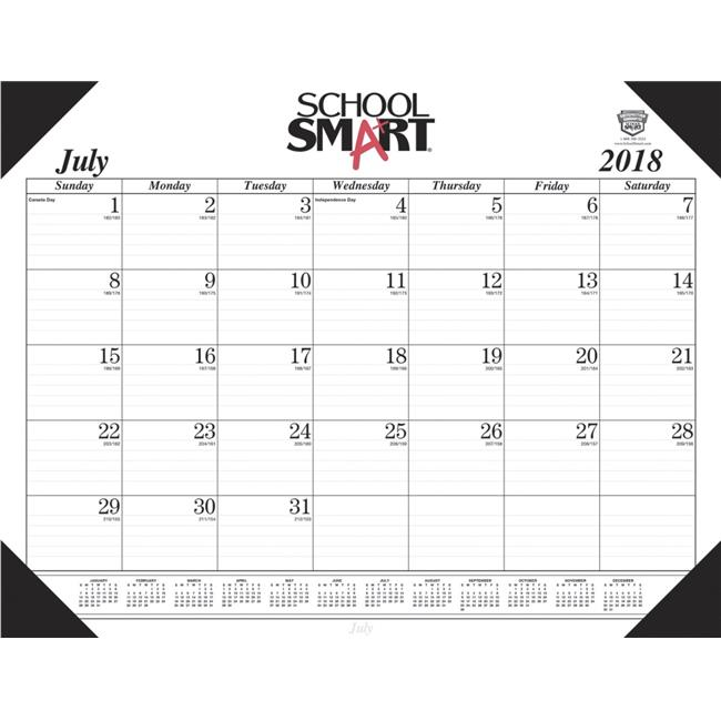 House of Doolittle 1589026 School Smart 14-Month Desk Pad Calendar, 2018 to 2019, 22 x 17 in.