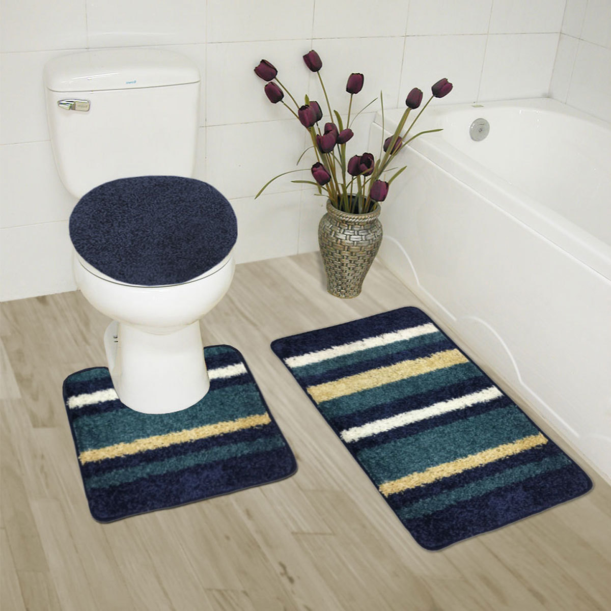 Abby 3 Piece Bathroom Rug Set, Bath Rug, Contour Rug, Lid Cover (Navy)
