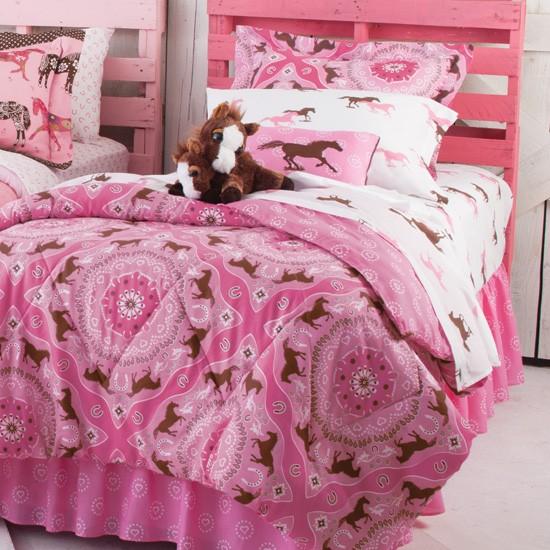 CountryLiving Pink Pony Bandana Horse Print Twin Comforte...