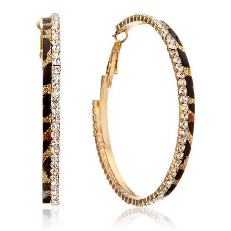 Gemini Women Fashion Leopard Print Crystal Big Round Hoop Earrings Gm148 , Size: 2