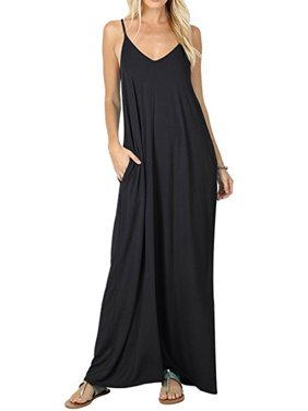 700b972737d07 Product Image Women Boho Spaghetti Strap Sleeveless Casual Baggy Long Maxi  Dresses Loose V-neck Evening Party