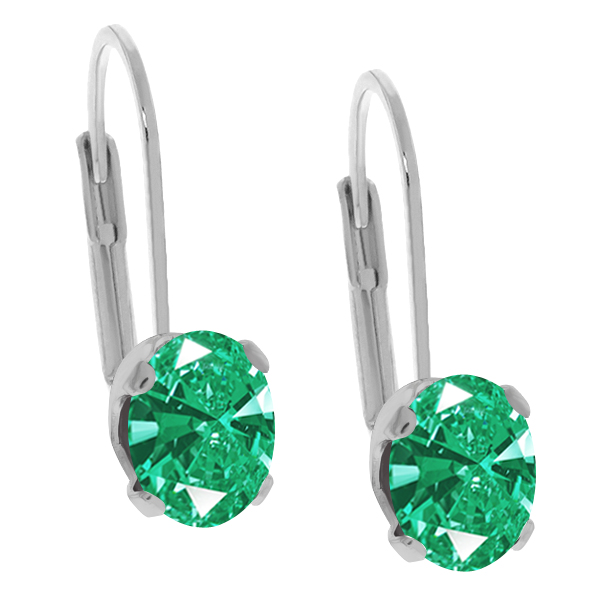 2.42 Ct Green 925 Sterling Silver Earrings Made With Swarovski Zirconia