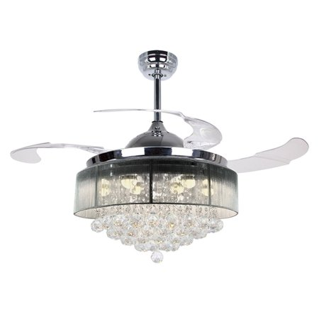 Ceiling Fans With Lights 42 Modern Led Fan Retractable Blades Crystal Chandelier